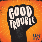 Logo for Good Trouble Podcast, Drawing of Fist in the Air