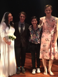 """Gallini-Burdick with his cast mates on """"God Is Dead and April's Getting Married""""."""